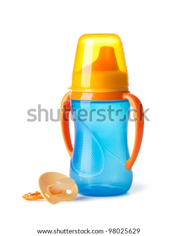 Baby: bottle and pacifier on a white background - stock photo