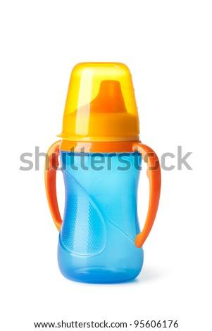 Baby bottle on a white background - stock photo