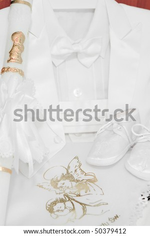 Baby boy accessories for Christening - stock photo