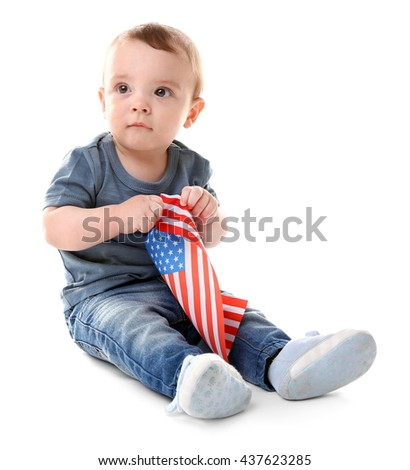 Baby boy and American flag, isolated on white - stock photo