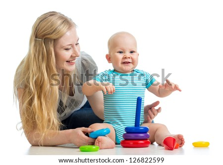 baby boy and mother playing together - stock photo