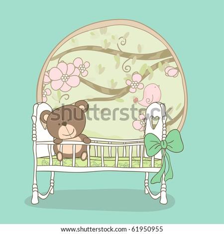 baby boy announcement card - stock photo