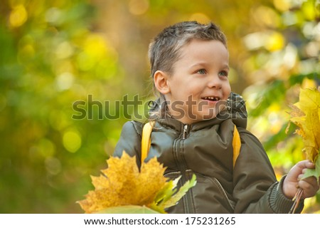 baby boy at the colorful autumn park