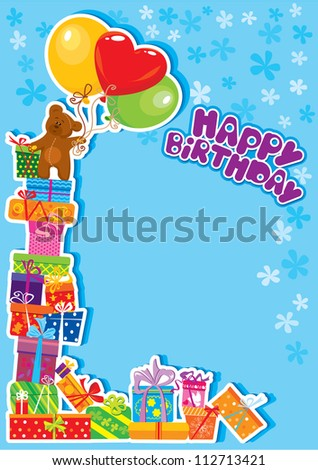 baby boy birthday card with teddy bear and gift boxes. Raster version