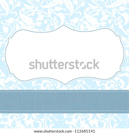 baby boy blue announcement or invitation template with room for type - stock photo