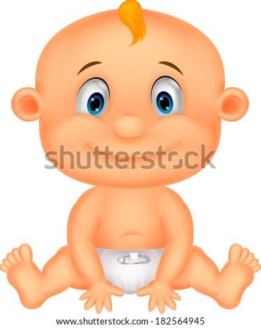 Baby boy cartoon - stock photo