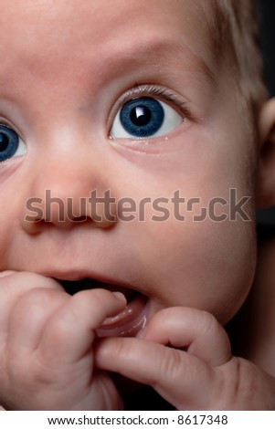 baby boy, close up, shallow depth of field - stock photo