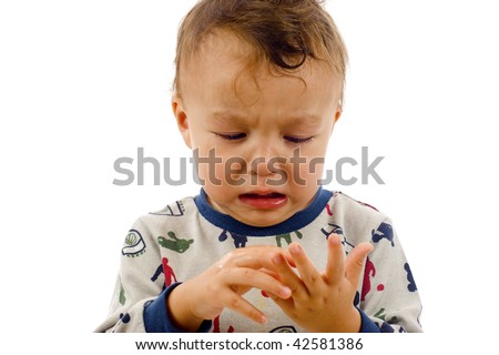 Baby Boy, Counting Fingers-  Isolated over a white background. - stock photo