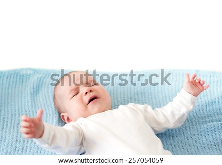 Baby boy crying - stock photo