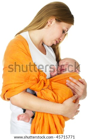baby boy crying in mother arm