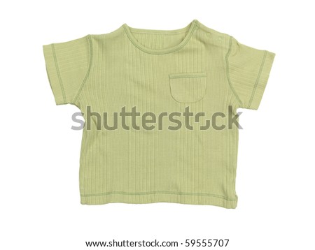 Baby boy green t-shirt isolated on white background with clipping path - stock photo