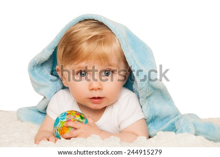 Baby boy holds small globe in his hands. Isolated on a white background. - stock photo