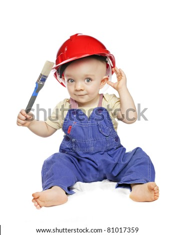 baby boy in a builder dress