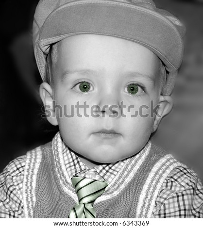 Baby Boy in Newsboy Hat, black and white - stock photo