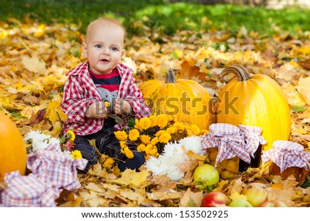 Baby boy in red shirt sitting among pumpkins in autumn garden