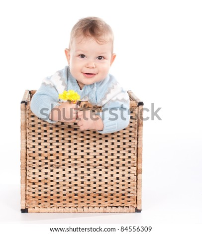Baby boy in wicker basket with flower on white background