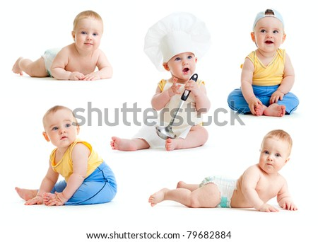 Baby boy isolated collection - stock photo