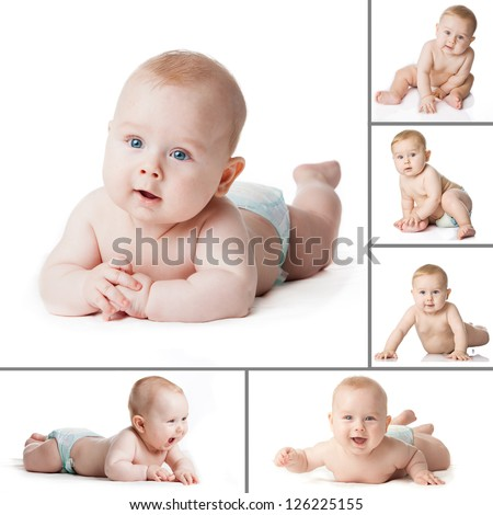 Baby Boy isolated. Collection  of a baby boy's. Newborn baby collage - stock photo