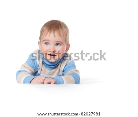 Baby boy isolated on white background - stock photo
