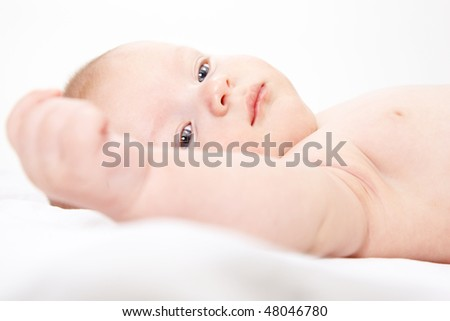baby boy 3 months old; closeup face - stock photo
