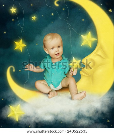 Baby boy on the moon with stars - stock photo