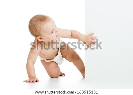 baby boy peeking out poster - stock photo