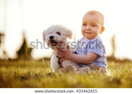 Baby boy playing with his puppy in the park - stock photo