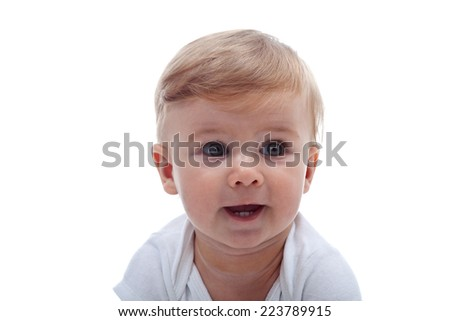 Baby boy portrait close-up - isolated on white