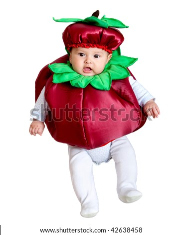 Baby boy portrait with a mulberry costume over a white background - stock photo