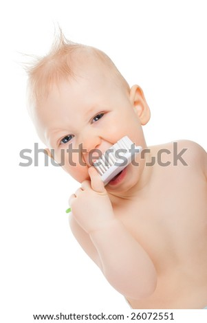 baby boy portrait with brush on white