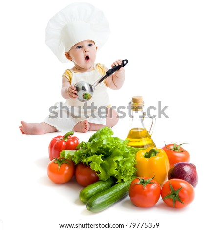 baby boy preparing healthy food isolated