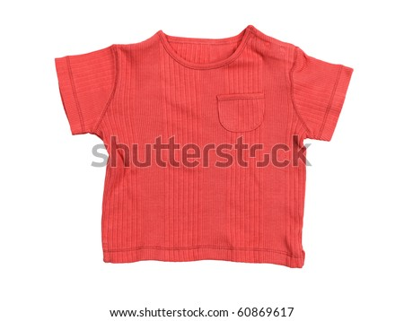 Baby boy red t-shirt isolated on white background with clipping path - stock photo