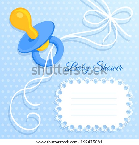 Baby Boy Shower Card Template Pacifier Stock Vector 159813944