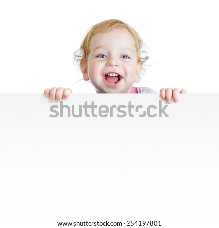 Baby boy showing blank placard with copy space isolated - stock photo