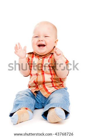 Baby boy sits laughing, isolated - stock photo