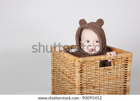Baby boy sitting in a basket wearing a fully bear suit - stock photo