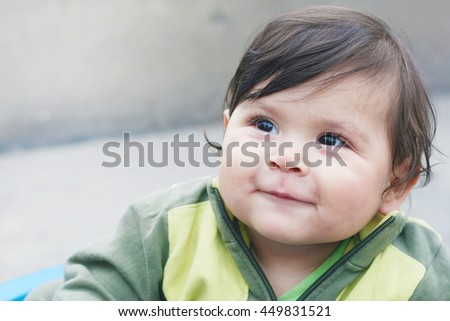 Baby boy smiling - stock photo