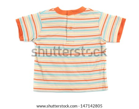 Baby boy stripy colorful T-shirt isolated on white background - stock photo