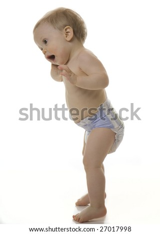 Baby Boy Talking on Cell Phone - stock photo