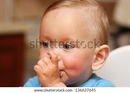 Baby Boy Thumb-sucking - stock photo