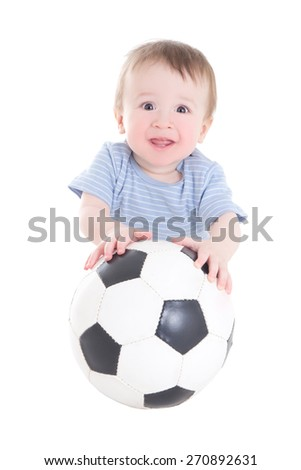 baby boy toddler with soccer ball isolated on white background - stock photo
