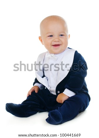 Baby boy wearing tuxedo portrait on white
