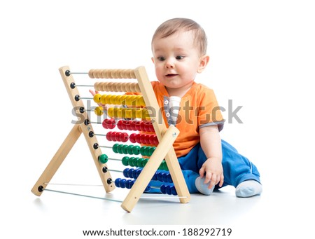 baby boy with abacus - stock photo