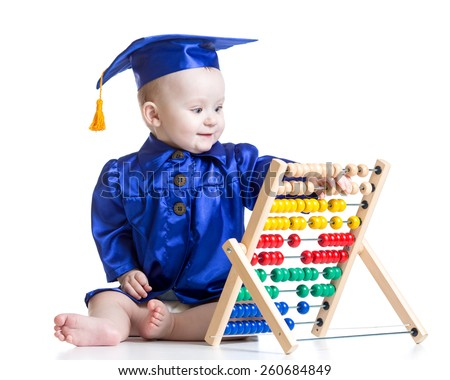 Baby boy with abacus toy. Concept of early learning child - stock photo
