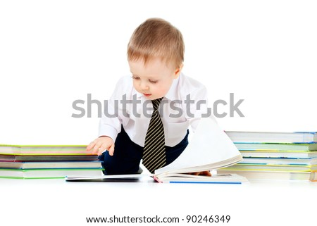 baby boy with books over white - stock photo