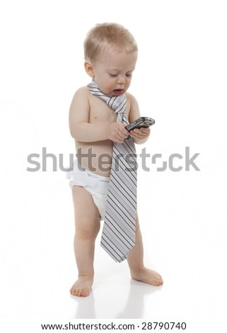 Baby Boy with Cell Phone - stock photo