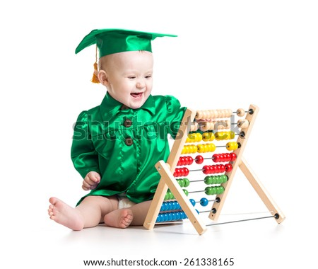 Baby boy with counter toy. Concept of early learning child - stock photo