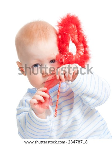 baby boy with furry red heart, isolated on white - stock photo