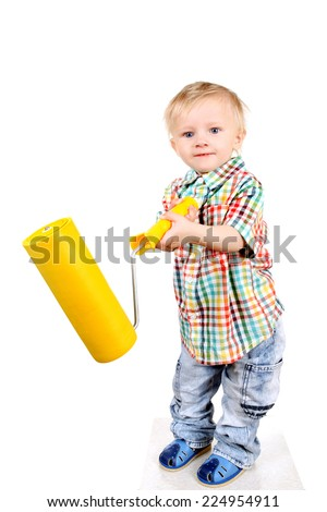 Baby Boy with Paint Roller Isolated on the White Background - stock photo
