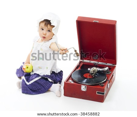 Baby broke gramophone and need technical support to fix it,isolated on whiеe